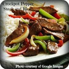 Crockpot Pepper Steak and Rice Recipe