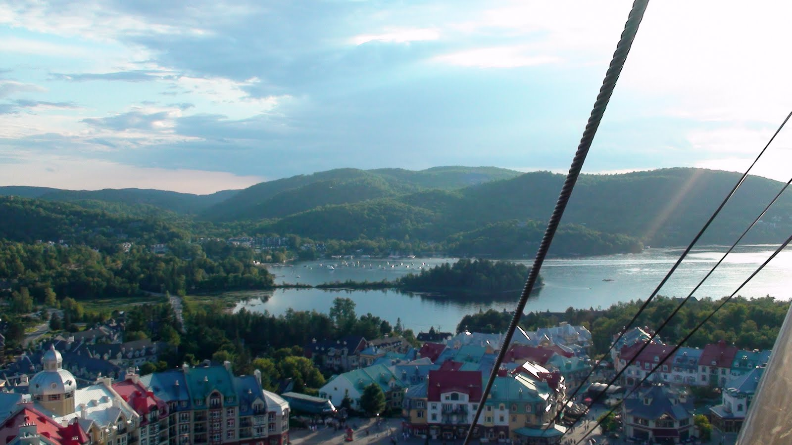 Taking the gondola up the mountain. Mont Tremblant village below.