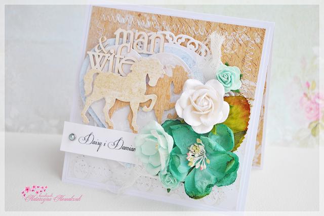Kartka ślubna z końmi