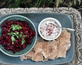 Beet Salad with Sumac, Yogurt & Pita (A Veggie Venture)