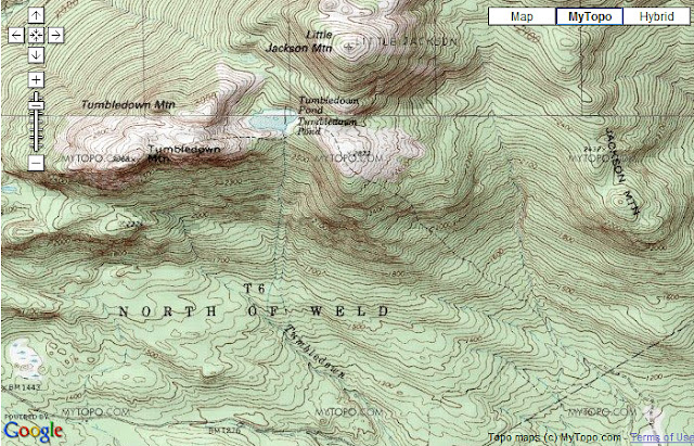 USGS topo map of Tumbledown Mtn.