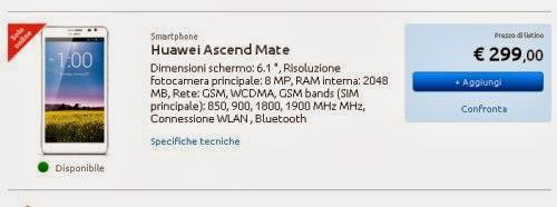 Prezzo sottocosto di 299 euro per il phablet da 6,1 pollici di diagonale di Huawei in offerta