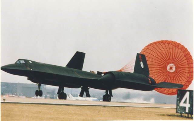 SR-71B with landing with shute deployed.