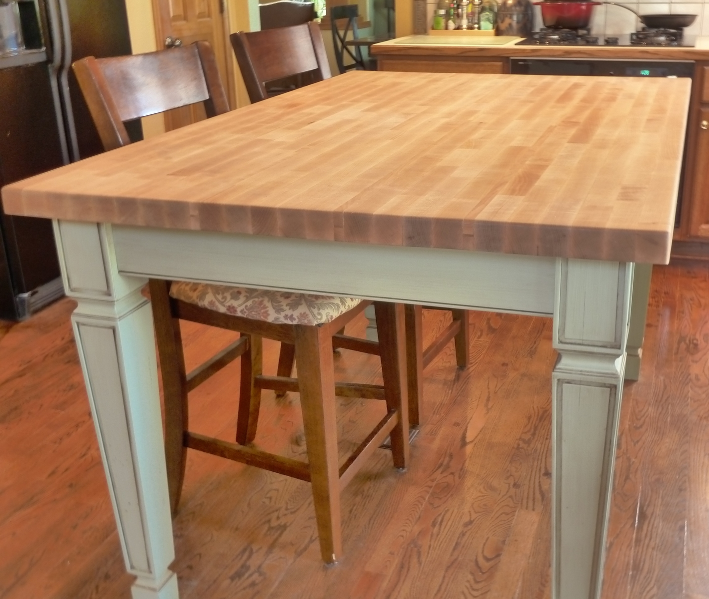 My butcher block kitchen island for Kitchen island table