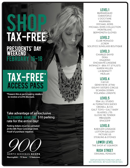 TAX FREE' shopping event to celebrate Presidents' Day weekend at The 900 North Michigan Shops