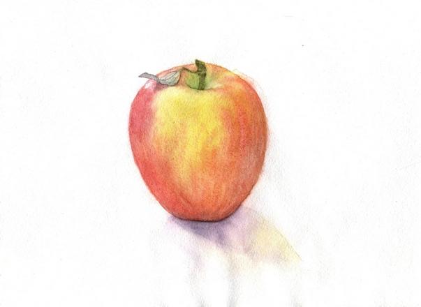 яблоко акварель