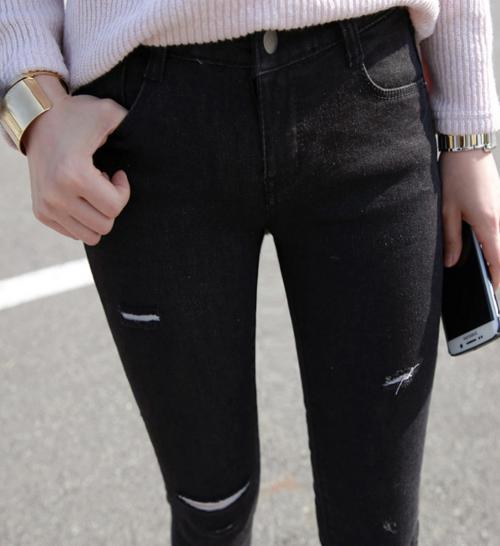 Torn Washed Black Skinny Jeans