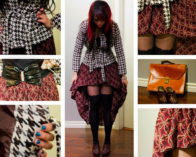 Talize Haul, Talize, Houndstooth jacket, DIY hi low hem hippie skirt, Hippie Skirt, Hi lo hem skirt, Bow tie belt, Vintage brief case from Greece, Fioni clogs, Clogs, Suspender tights from Dynamite, Outfit Collage, Thrift fashion, Thrift finds, Street Style