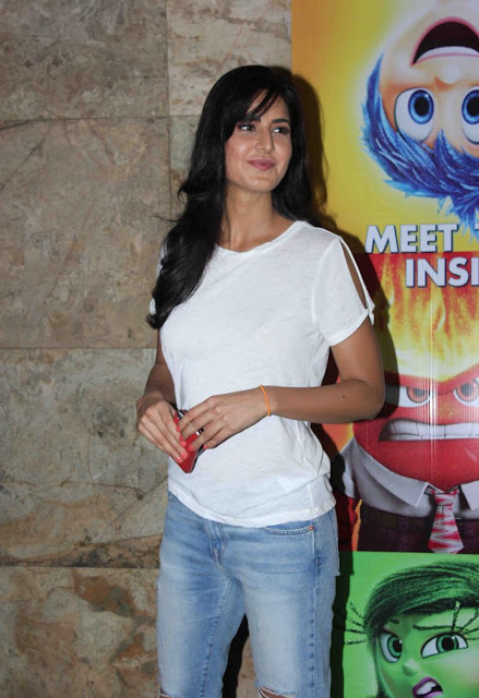 "Katrina Kaif Looks Super sexy In Ripped Jeans and White See-through Top At ""Inside Outside"" Screening At Lightbox Cinema"