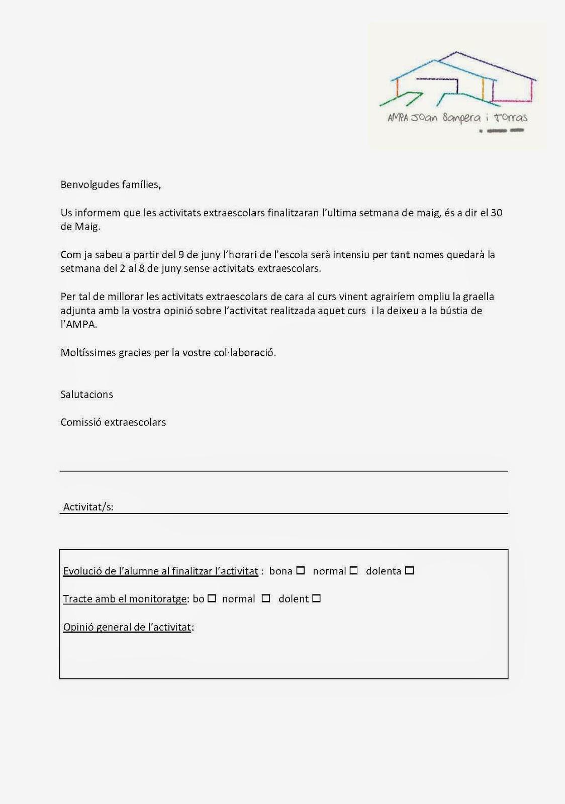 Finalització i avaluació extraescolars 2014