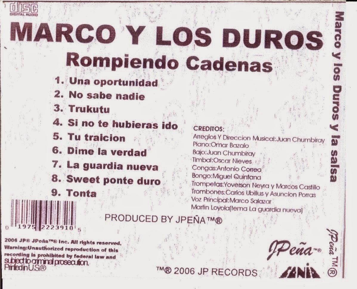 Fabianita\'s Musik: 2006-Marco y Los Duros De La Salsa /Rompiendo Cadenas