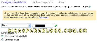 configuração login em 2 etapas no google