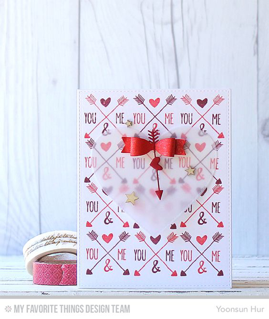 You & Me Card by Yoonsun Hur featuring the So Much Love stamp set and the Laina Lamb Design Creative Clips, Stitched Hearts STAX, and Tag Builder Blueprints 5 Die-namics  #mftstamps