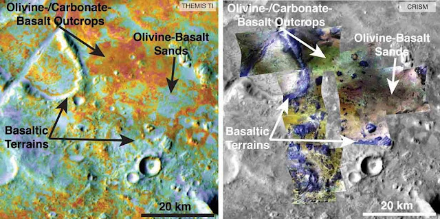Researchers estimating the amount of carbon held in the ground at the largest known carbonate deposit on Mars used data from five instruments on three NASA Mars orbiters, including physical properties from THEMIS (left) and mineral information from CRISM (right). Image credit: NASA/JPL-Caltech/ASU/JHUAPL