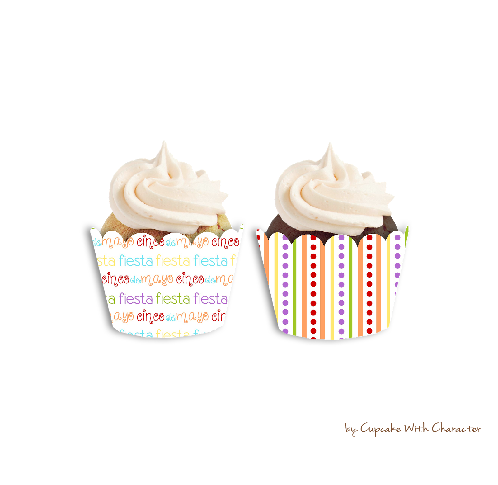 Cinco De Mayo Cupcake Wrappers-Cupcake With Character