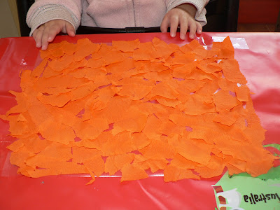 orange tissue paper sun catcher