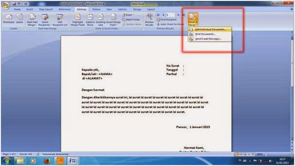 Tips dan Trik Cara Membuat Mail Merge Dengan Wizard
