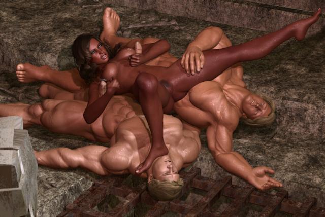 Naked nude men in battle