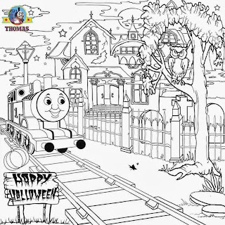 Haunted house Thomas n friend coloring pictures to color happy Halloween activity sheets for kids