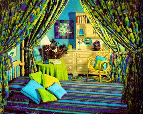 colourful retro bedroom decorating ideas