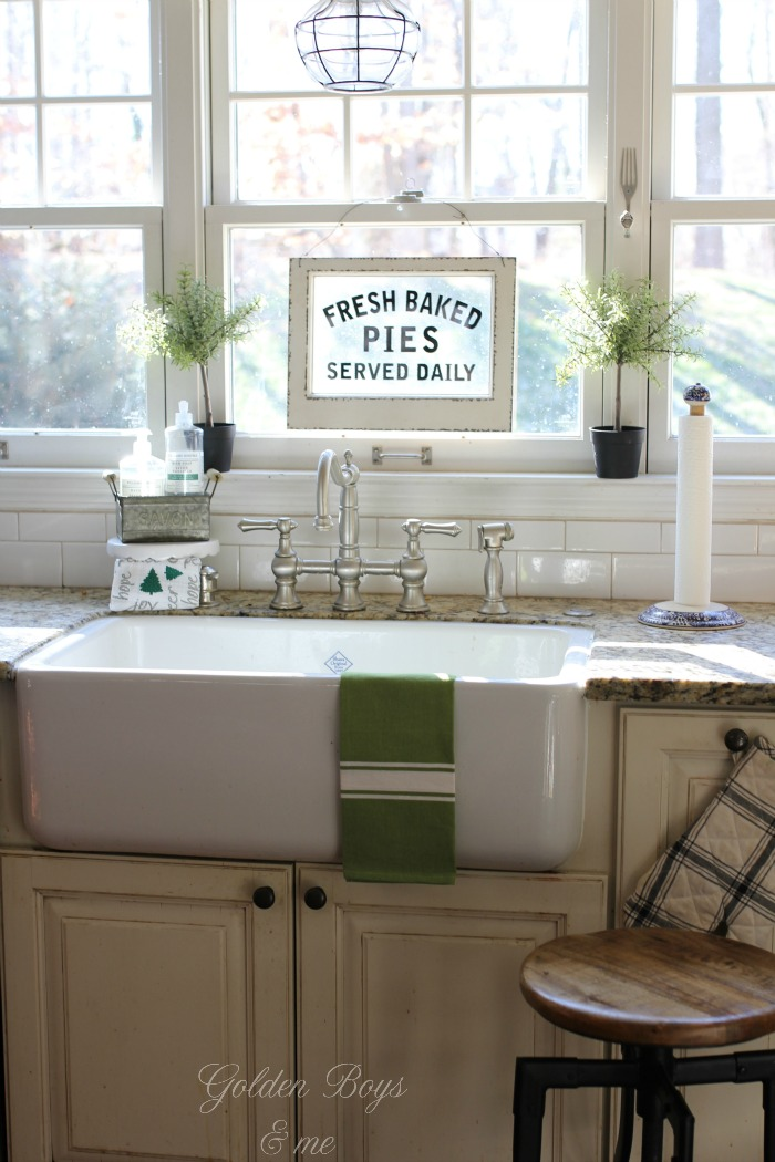 Fresh Baked pie sign from World Market over Shaw's farmhouse style apron front sink - www.goldenboysandme.com