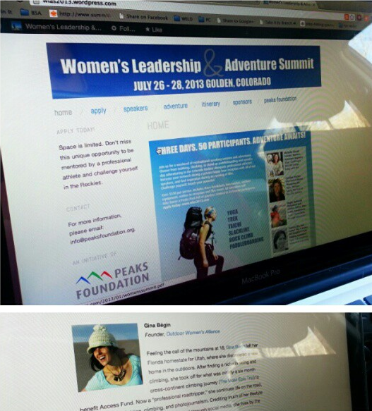 Peaks Foundation Women's Leadership & Adventure Summit page with Gina Begin
