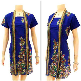 DB2901 - Mode Baju Dress Batik Modern Terbaru 2013