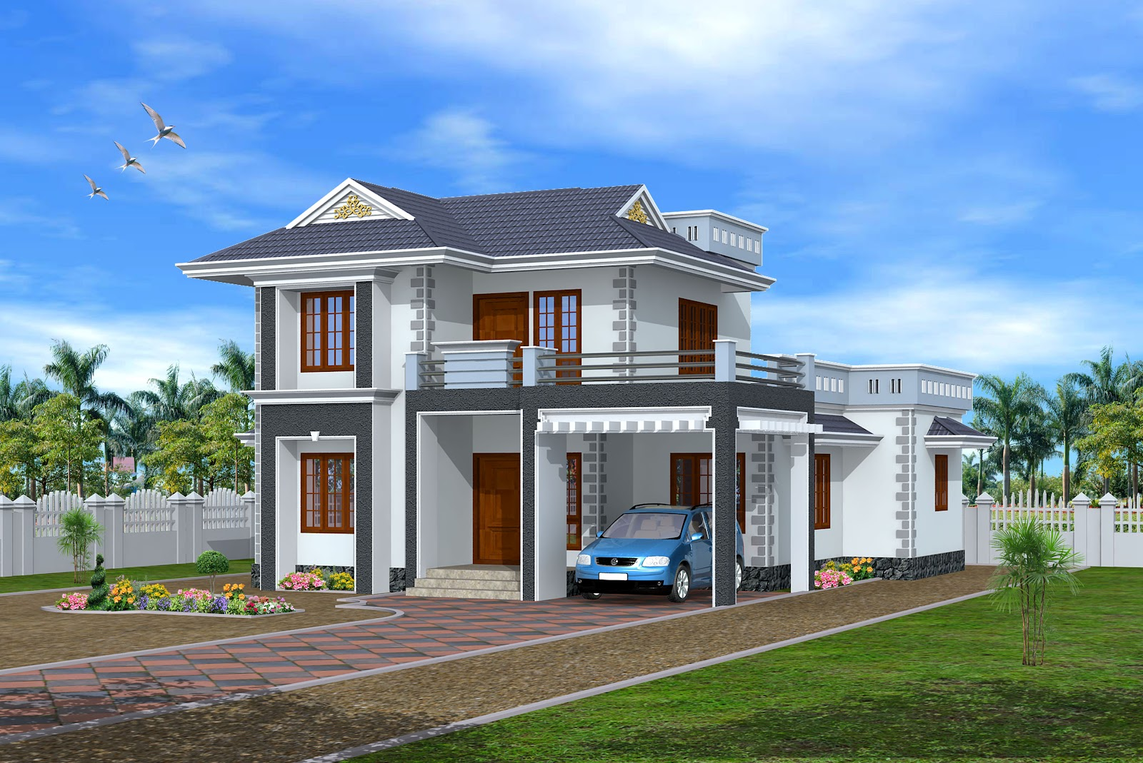 New home designs latest modern homes exterior designs views for Home designs 3d images