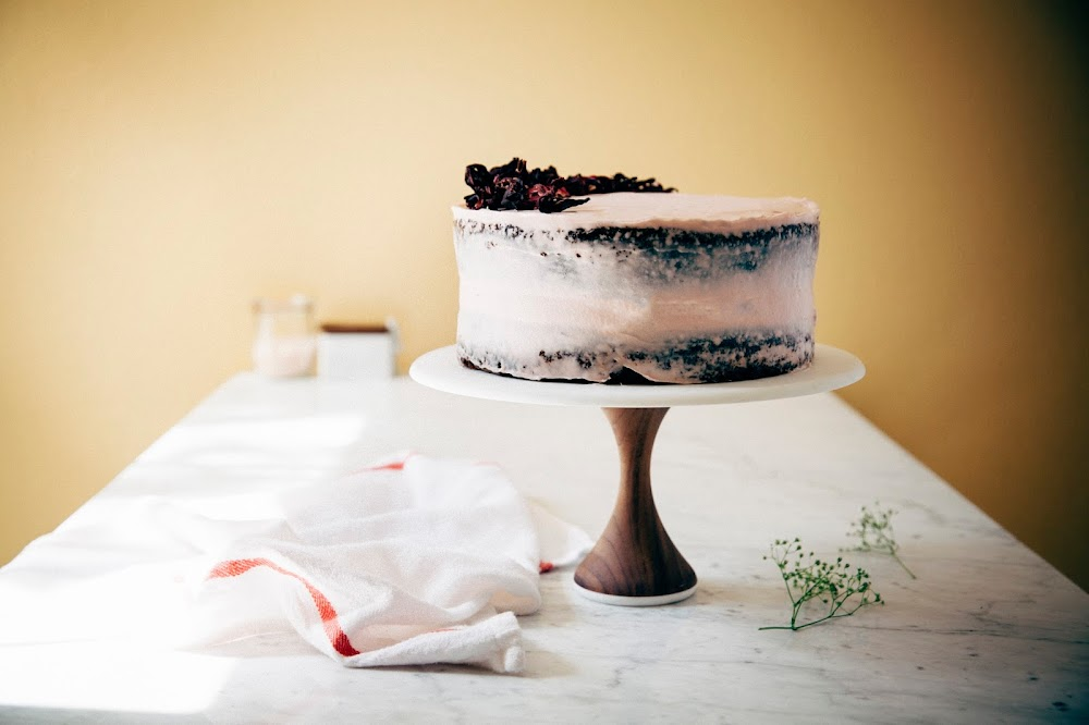 a naked hibiscus chocolate cake