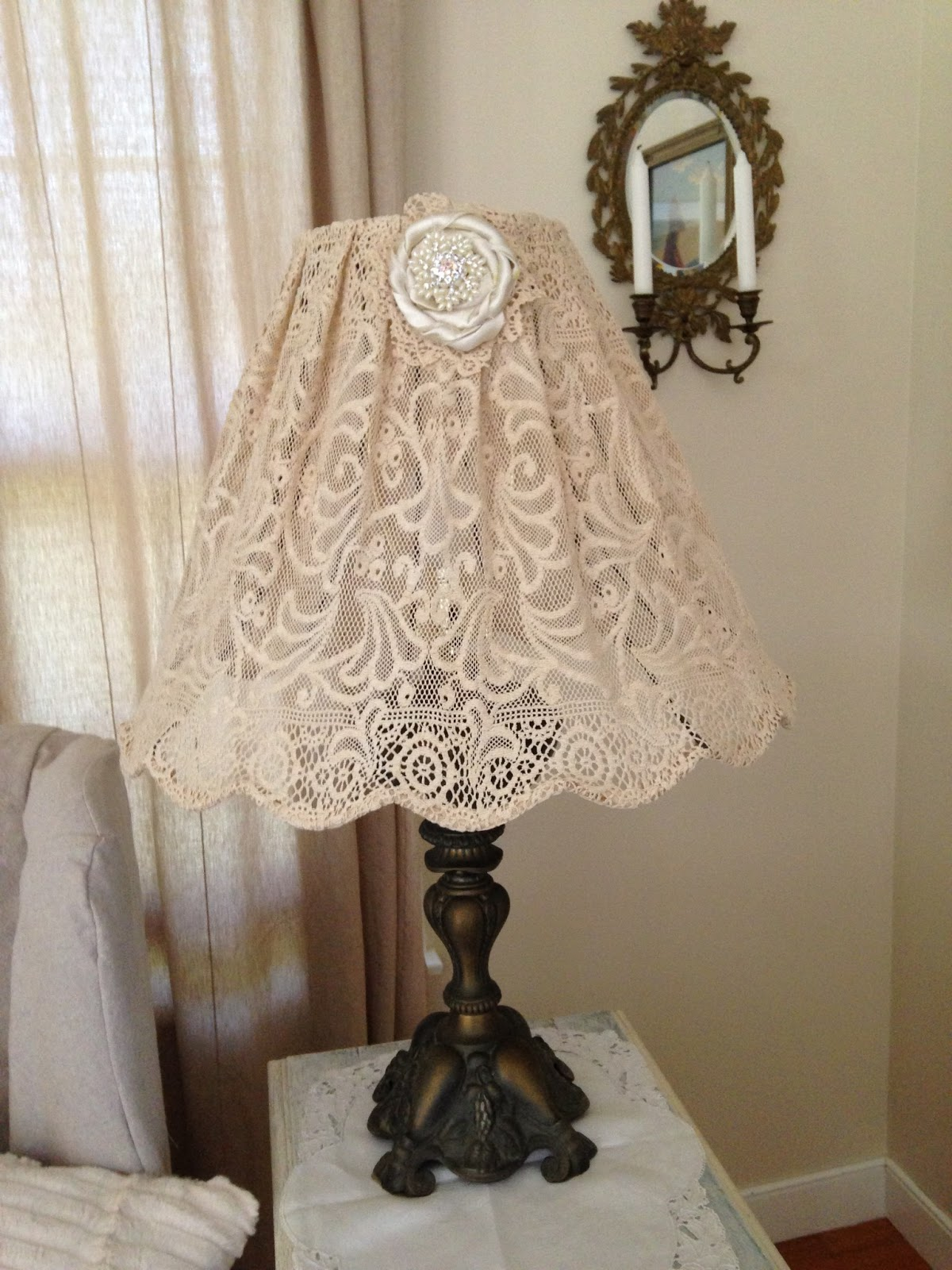 restored treasures too diy lampshade using an antique lace tablecloth. Black Bedroom Furniture Sets. Home Design Ideas