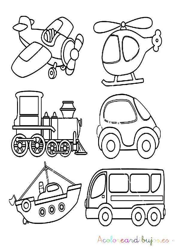 imprimir y colorear transportes en pdf