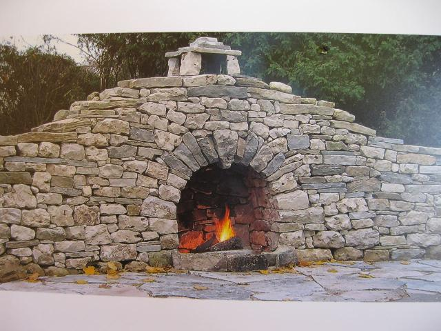 dry stone walling outdoor fireplace