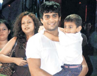 Madhavan with wife  Sarita Birje and son