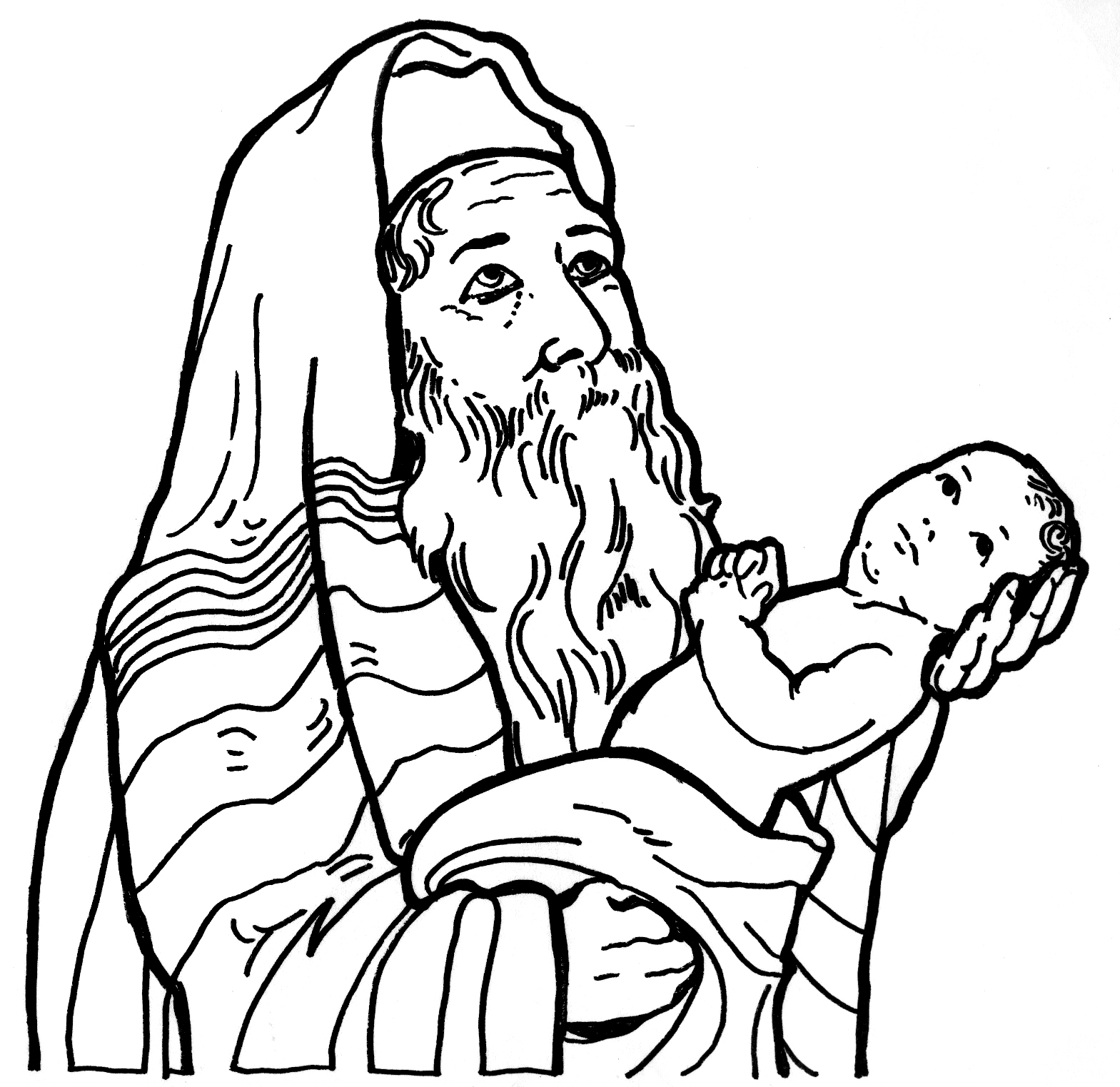 Jesus Presented At Temple Coloring Page Coloring Pages