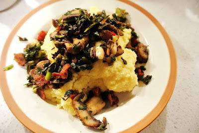 Creamy Polenta with Sautéed Mushrooms & Dark Leafy Greens