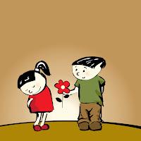 Ilustración de Amor con un chico dándole una flor a su novia el Día de San Valentín