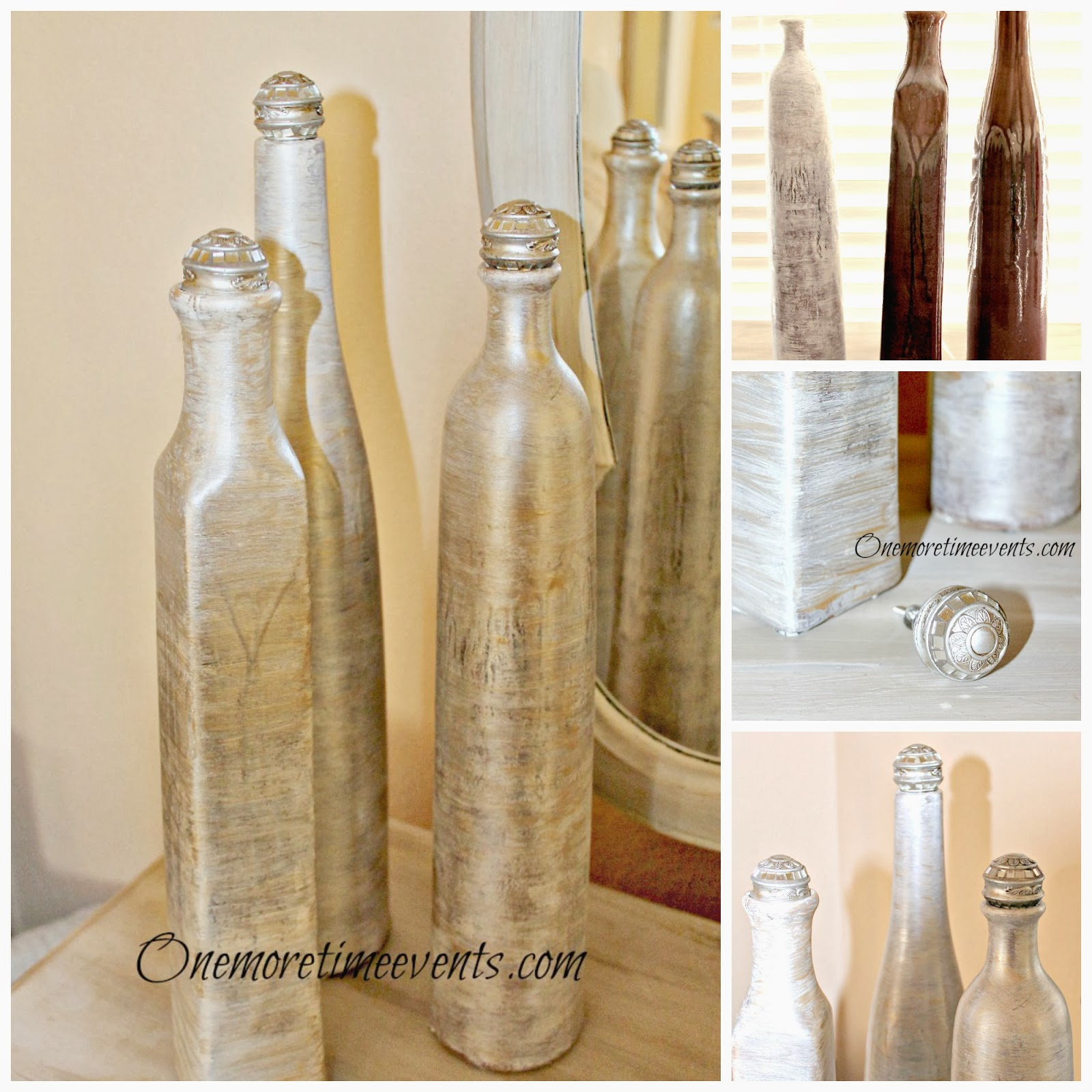 Before and After Faux Ivory Mother of Pearl vase makeover at One More Time Events.com #fauxivorymotherofpearl,#paintingwithmetallics