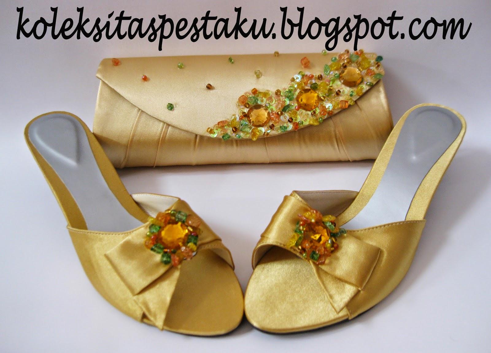 Gold Unik Tas Pesta dan Sepatu Mewah Elegant