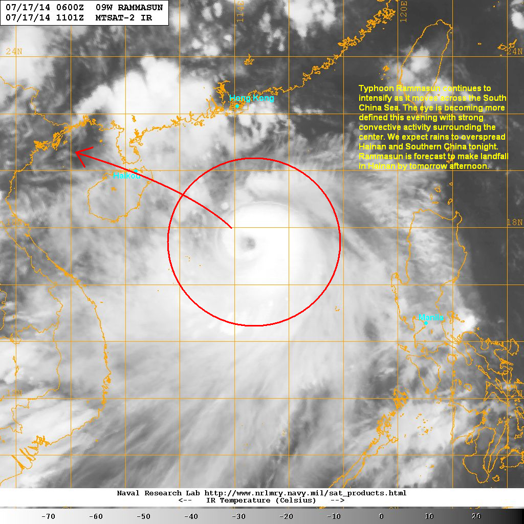 latest satellite image shows the eye of rammasun becoming more defined this evening the convective activity remains strong and well organized as well