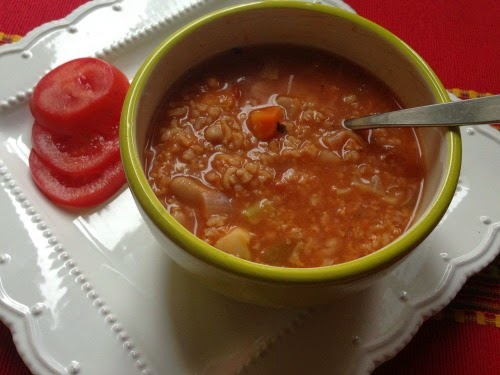 Vegan, Gluten-free Rice and Bean Veggie Soup