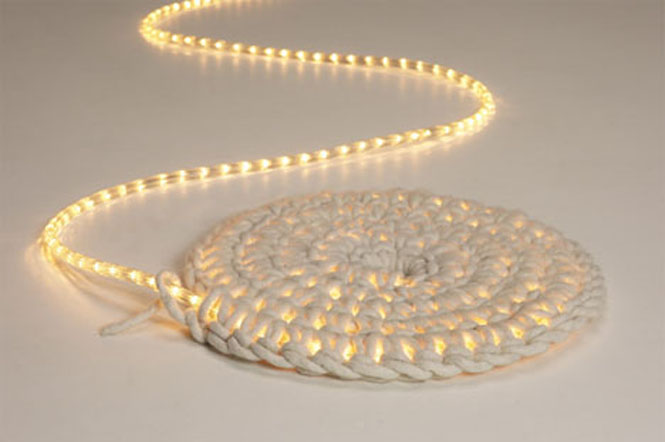 The Wool Acorn DIY Rope And LED Light Rug