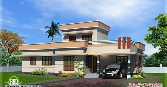1300 one floor house exterior kerala home design for Veedu plan and estimate