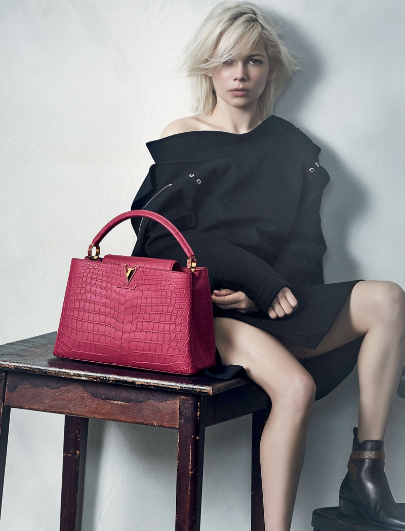 Michelle Williams poses for the Louis Vuitton 'Capucines' Handbag Campaign 2015