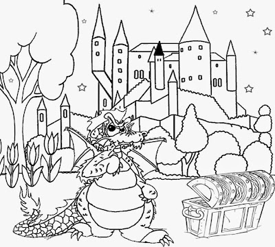 Full moon halloween coloring pages to print for Dragon and castle coloring pages