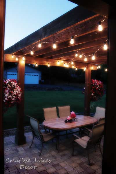 Hang String Lights Over Patio : Creative Juices Decor: Adding String Patio Lights To the Pergola - Glamorizing Part II