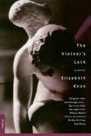 cover art for The Vintner's Luck, featuring a white marble statue of a crouching angel. The statue is half in shadow with tones of burgundy in the background.