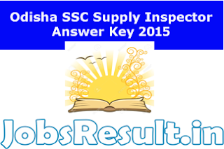 Odisha SSC Supply Inspector Answer Key 2015