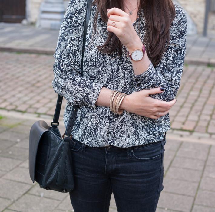 Zara paisley blouse, Cluse watch, JuliaJune bracelet