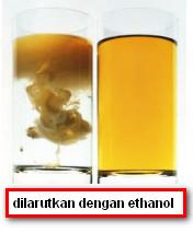 bahan baku dilarutkan dengan etanol