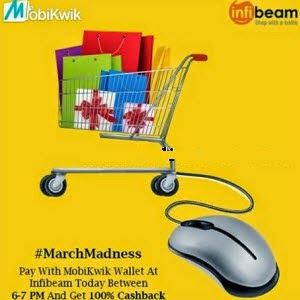 Infibeam 100% Cashback (No minimum purchase) with Mobikwik Wallet